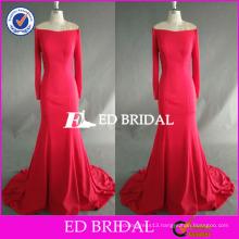 ED Bridal Supplier Fuchsia Off Shoulder Long Sleeve Floor Length Mermaid Long Party Dress