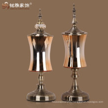 wholesale home decorative galss vase with lid and bottom base