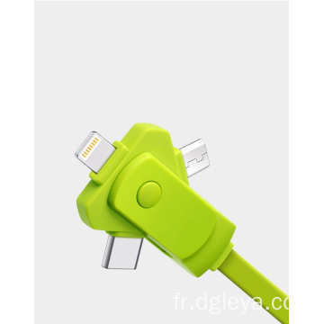 Ligne de charge rotative 3 en 1 pour iPhone / micro Android / type C