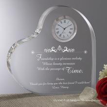 Relógio de cristal de forma de coração para decoração de casa