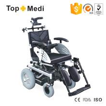 Cadeira de rodas elétrica elétrica com assento reclinável ajustável com revestimento em pó de aço