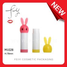 Conejo forma lindo plástico labio bálsamo caso