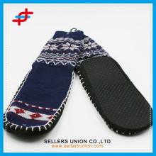 Men Super Thick Indoor Warm Argyle and Snowflake Anti-Slip Stripe Shoe Socks