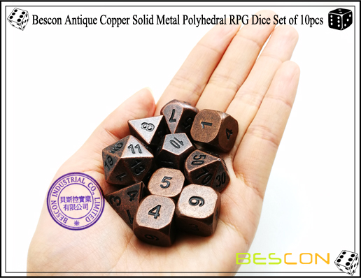 Bescon Antique Copper Solid Metal Polyhedral RPG Dice Set of 10pcs-4