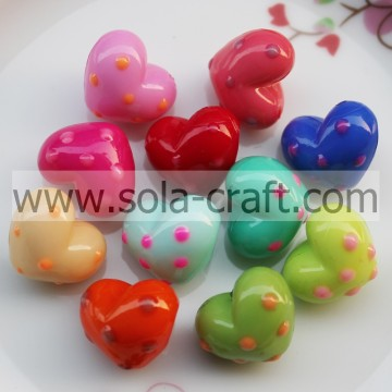 17*19.5*22.5MM Solid Pots Colorful Grade A Acrylic Heart Charm Beads Pattern