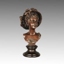 Busts Bronze Sculpture Female Figure Goddess Demetria Brass Statue TPE-792