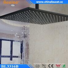 Douche de tête d'automne de brume fixée au mur de 16 po en acier inoxydable noir