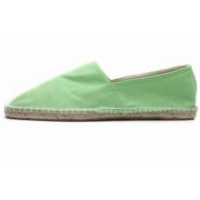 Europeia candy cor linho base absorvente preguiçoso lona manual linha sapatos baixos fivela pano sapatos