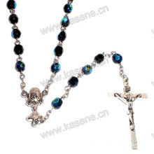 Elegant 6mm Black Faceted Crystal Bead Rosary Necklace