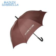 2018 Новый промо-рекламы 190t Эпонж коричневого цвета подарочная кожаная ручка Автоматический зонт трость с нанесением печати