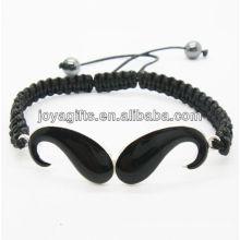 Enamel beard alloy woven bracelet with black wire