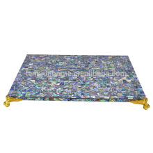 New zealand paua shell with gold corner table mat placemat