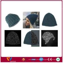 China new arrival moda knit inverno refectlive fios beanie chapéus para ao ar livre para a segurança