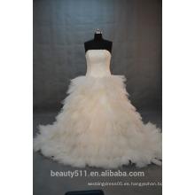 EN STOCK Vestido de novia de la falda Bubble Off-The-Shoulder Vestido de novia del piso-longitud SW11