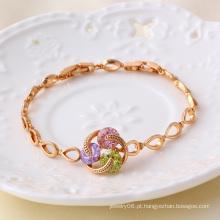 Xuping Jóias Gemstone Rose Gold Pulseira Cor