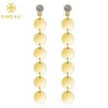 Elegant female gold geometric tassel disc hoop dangling stainless steel women long earrings