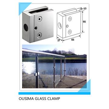 Abrazadera de vidrio cuadrado de acero inoxidable (CR-057)