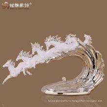 Домашний интерьер decration для высокого качества лошадь группы фигурка с polyresin материал