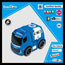 Cartoon brinquedo azul com caixas de exibição pdq carro de polícia de brinquedo