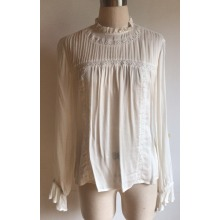 Ladies Viscose Ladies Blouse with Lace and Pintucks
