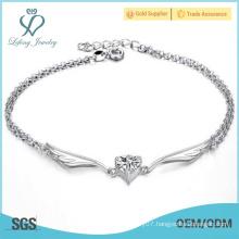 Silver ankle bracelets for women,platinum metal angel wing anklets