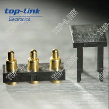 3 Pin SMT Brass Pogo Pin Connector with Spring Loaded Gold Plated