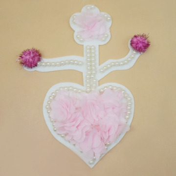 Pearl pink rose embroidery loving heart patch