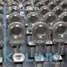 Válvula Pneumática de Faca Tipo de Flange Total Aço Inoxidável