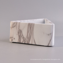 New Arrival Triangle Marble White Concrete Candle Vessel Set of 2