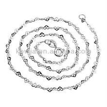 Unique design 925 prata esterlina colar de corrente