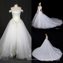 Real off Shoulder Embroidery Big Train Long Dress Wedding Gown