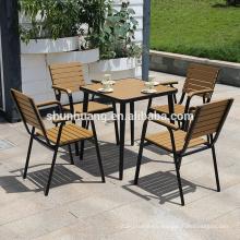 Hot selling plastic wood patio furniture wood aluminum frame furniture outdoor dining set