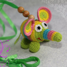 Crochet rattle Funny Elephant New baby Crochet toy Toddler Animal handmade Nursery