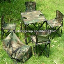 Plegable plegable silla de camping y mesa en la bolsa al aire libre