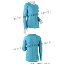 Mujeres cuello redondo manga larga camisetas