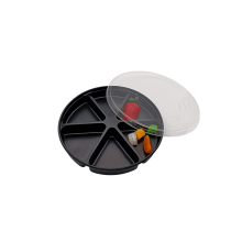 Bandeja de embalagem em bolha de plástico com nozes e sushi redondo