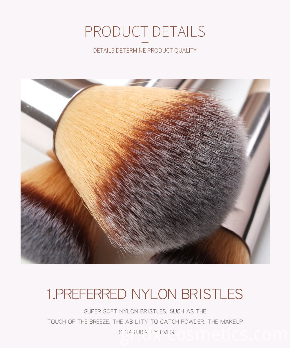 10 Piece Champagne Gold Makeup Brushes Hair