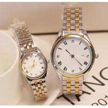 Relógio de presente de cor de ouro e prata resistente à água