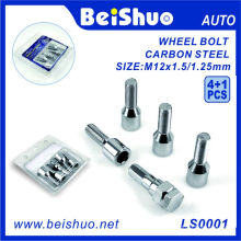 Hot Sale 4 + 1 PCS Carbono Roda de Aço Bolt Set