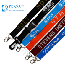 High quality personalized custom polyester jacquard detachable logo woven embroidered lanyard with keyring