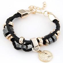VAGULA ручной золото покрытием Кулон прелести Женская браслет