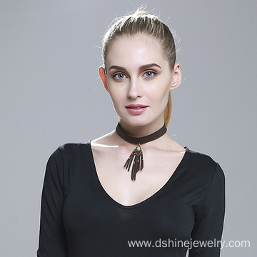 Fashion Leather Choker Necklace Suede Tassel Collar Necklace