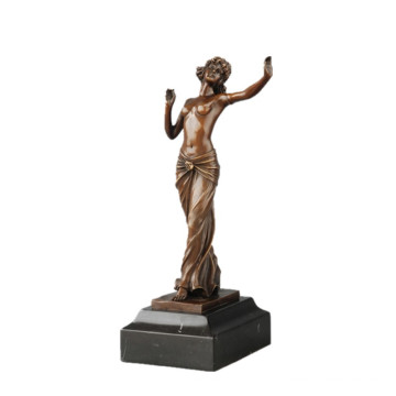 Female Art Hand-Made Bronze Sculpture Dancer Decor Brass Statue TPE-709