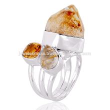 Natural Citrino y multi piedras preciosas 925 anillo de plata de ley