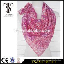 Bufanda cuadrada barata de la sensación de seda de la bufanda del poliester del 100% con el patrón unregular