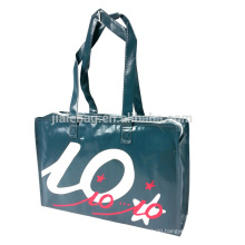 Supermarket recycled laminated reusable shopping bag with zipper