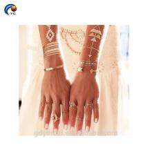 Tatouage métallique en gros d'autocollant d'or instantané, style provisoire de bling de corps pour la jeune mariée