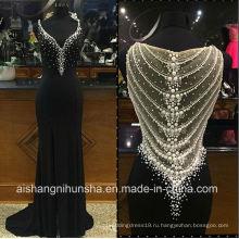 V-образным вырезом бисероплетение Пром платья длинные черные Вечерние платья ED003