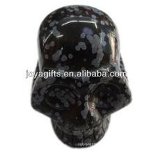 Crête en pierres précieuses de Snowflak crâne sculpté Crâne de gemme naturelle de 2 po
