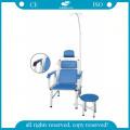 AG-TC002 azul inyección de hospital de acero inoxidable de alta calidad silla de transfusión